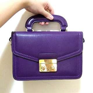 (9成新) Pixy 紫色絕版復古小方包