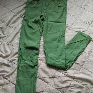 馬卡龍配色口袋彈性舒棉窄管鉛筆褲(綠)