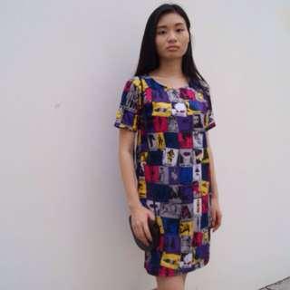 Magazine Print Straight Dress