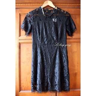 超美黑色睫毛蕾絲洋裝連身裙s~m可穿