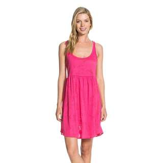Roxy 夏天海邊很適合的露背綁帶洋裝 粉色