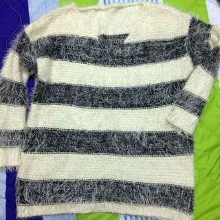 二手 條紋 毛衣 短版