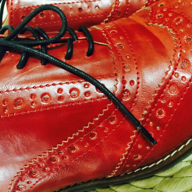 2⃣英倫風 酒紅色真皮牛津鞋