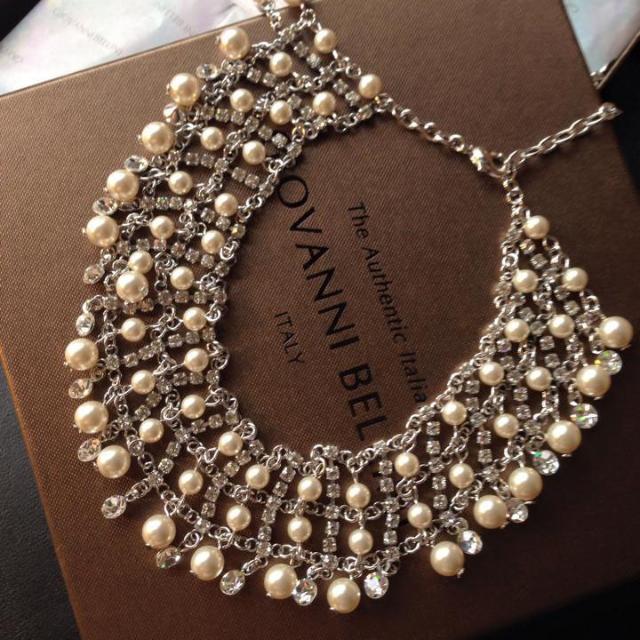 珍珠綴白鑽優雅頸鍊+耳環(夾式) / 優雅質感 .派對.新娘.新秘婚禮必備飾品
