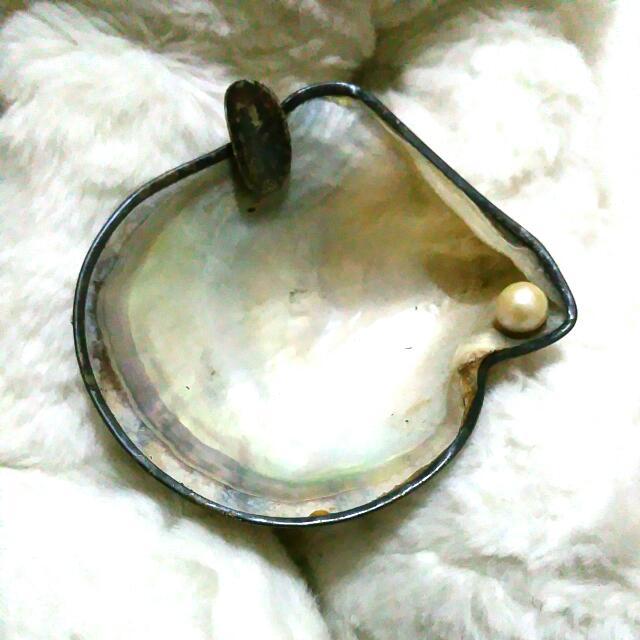早期菸灰缸絕版煙灰缸貝殼純銀925珍珠擺飾