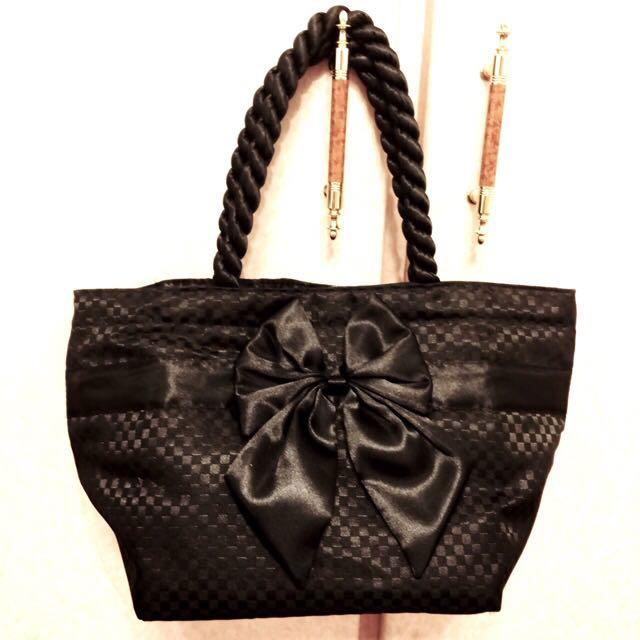 NaRaYa曼谷包黑色緞面棋盤花邊手提包