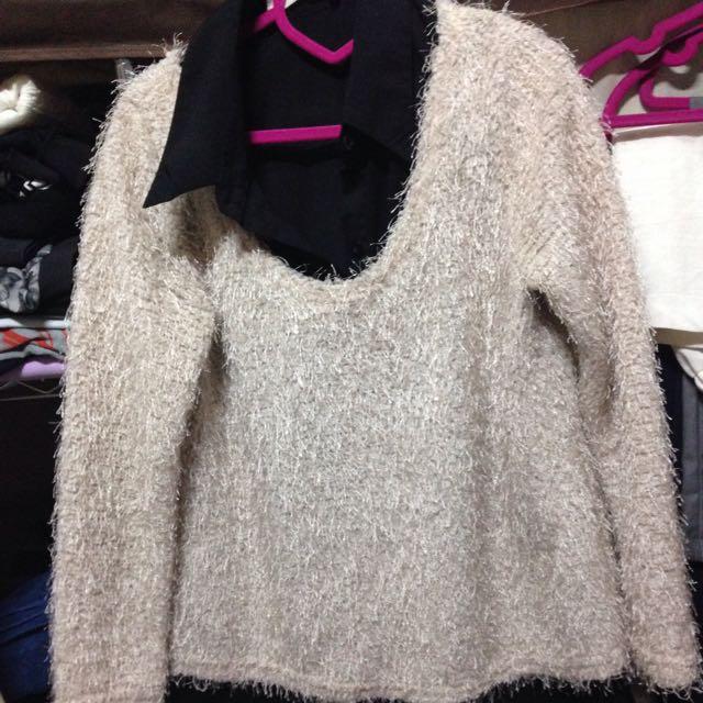 (衝評價!!求岀清!)假兩件氣質雪紡上衣