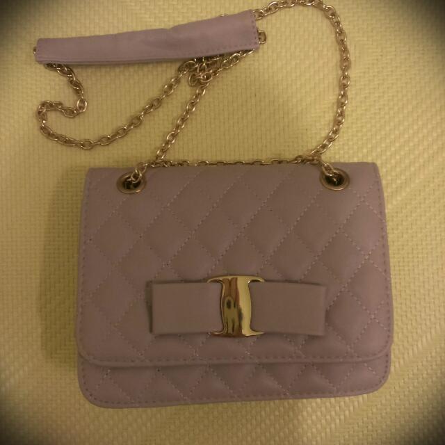薰衣草紫菱格金鍊包
