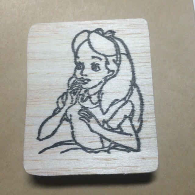 愛麗絲手刻印章  送印泥