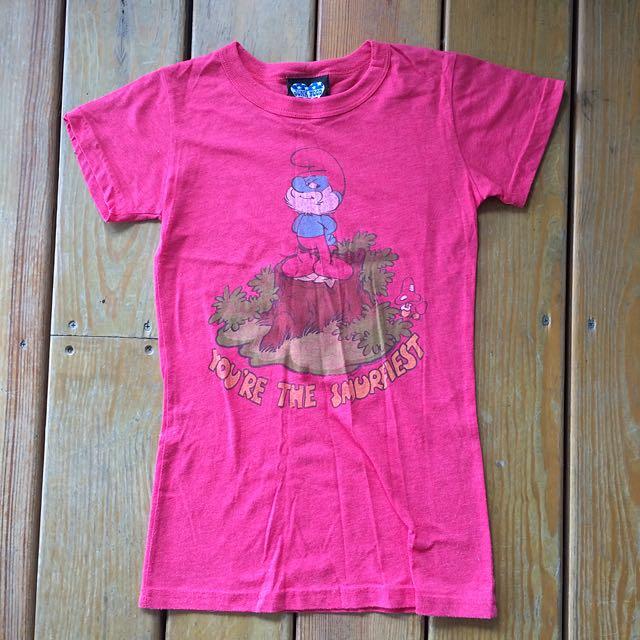 藍色小精靈 西瓜紅短袖T恤 S號 復古 Old school