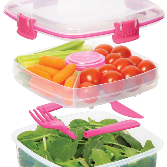 (Reserved) BN Sistema Klip It 37.1-Ounce Salad to Go Container, Clear