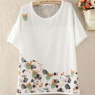 全新 森林系日系刺繡貓頭鷹棉質短袖T-shirt