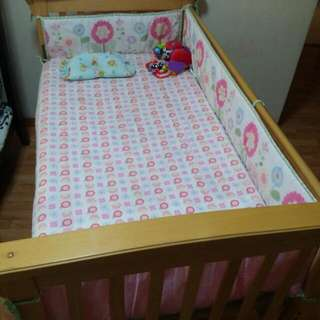 2 Sets Of Cot Bumpers And One Matching Cot Sheet