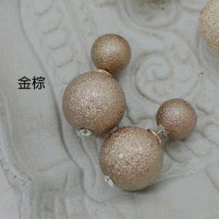 (免運)金蔥磨沙大力丸耳環-金棕