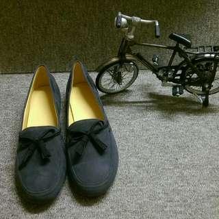 🎀全新手工鞋-時尚素色絨毛圓頭平底鞋