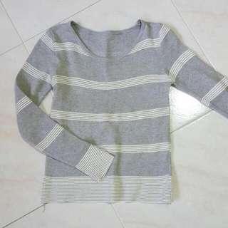 Grey Striped Long Sleeve Top