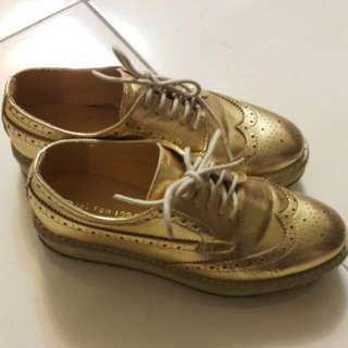 金屬牛津厚底鞋39cm