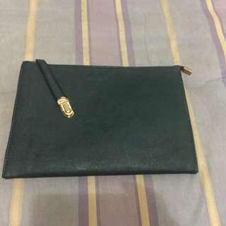全新!墨綠色特殊釦3way手拿包
