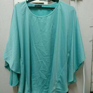 Clara Kaftan Batwing Blouse In Mint Green