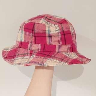 紅白格子森林系帽