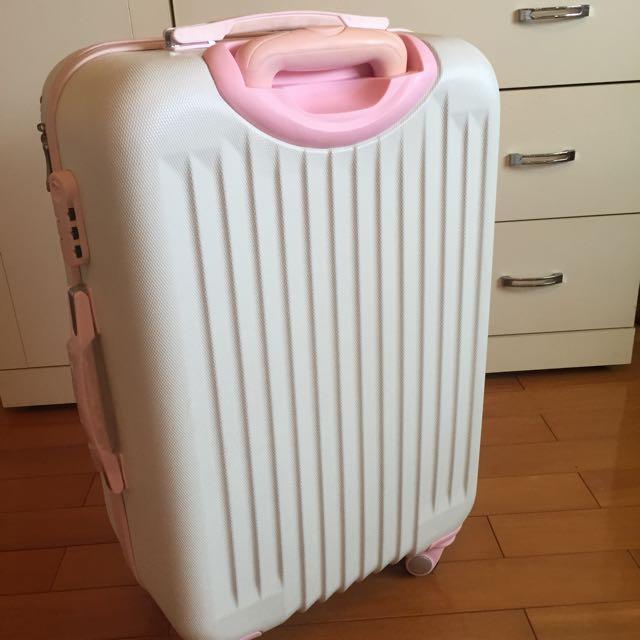 24寸白底粉邊PVC輕巧行李箱