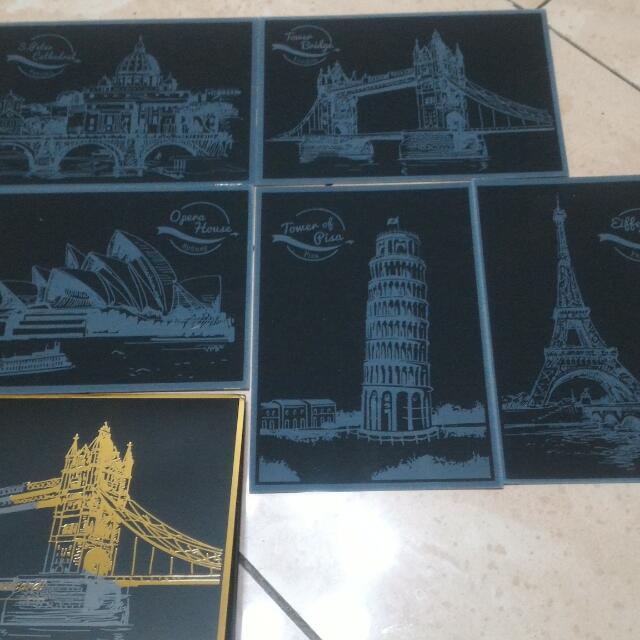 多買的 城市刮畫明信片,一組五張399元附木頭刮筆