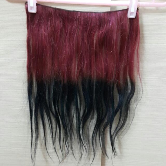 梅紅漸層深藍4扣超寬版(真)髮片