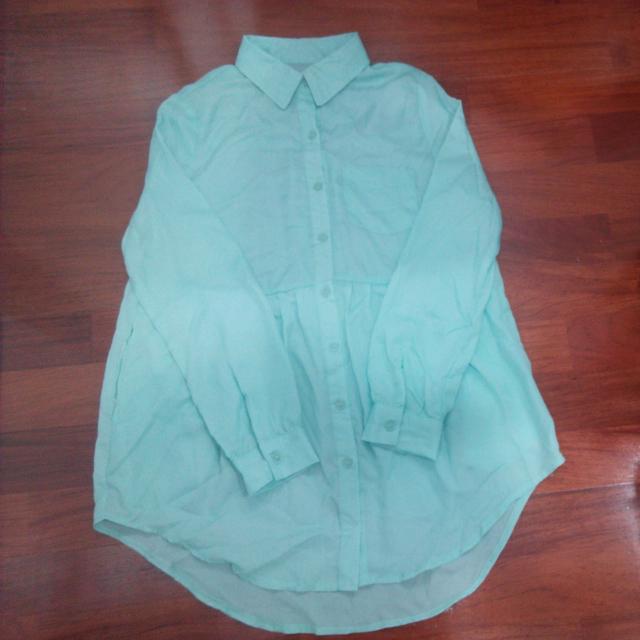 湖水綠娃娃雪紡衫