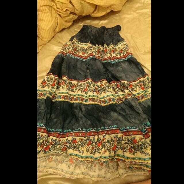 花色長裙(可當平口洋裝