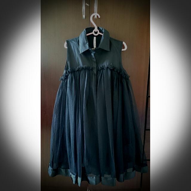 """黑"""" 襯衫無袖紗裙"""