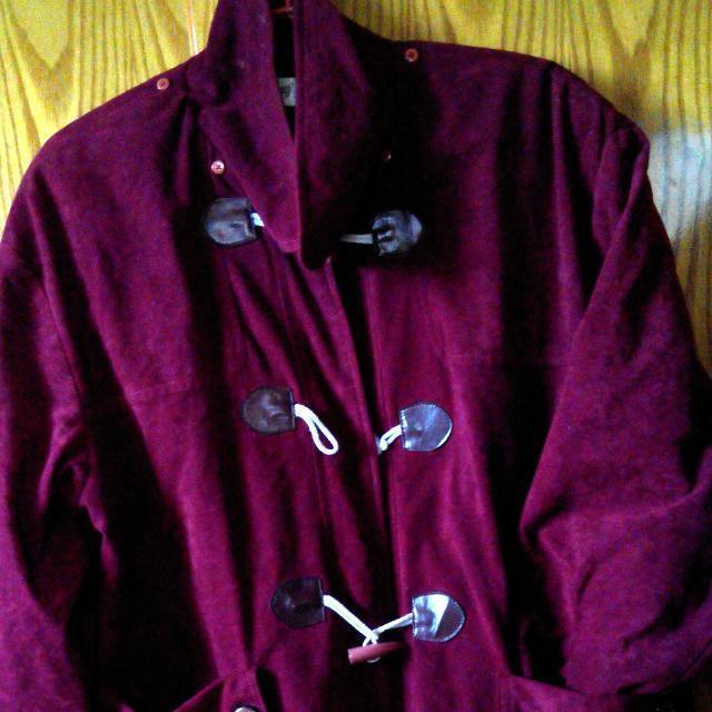 酒紅色 長版外套