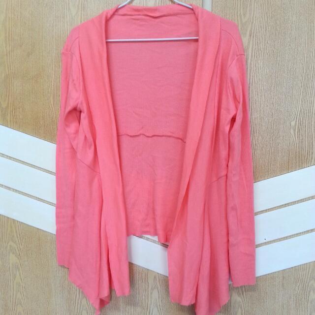 螺紋開襟棉罩衫- 粉橘色