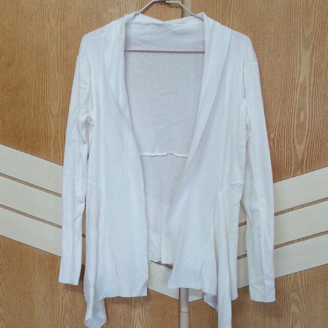 螺紋開襟棉罩衫- 白色