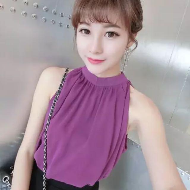 ✨今夏最流行 深紫色 雙層雪紡 削肩上衣