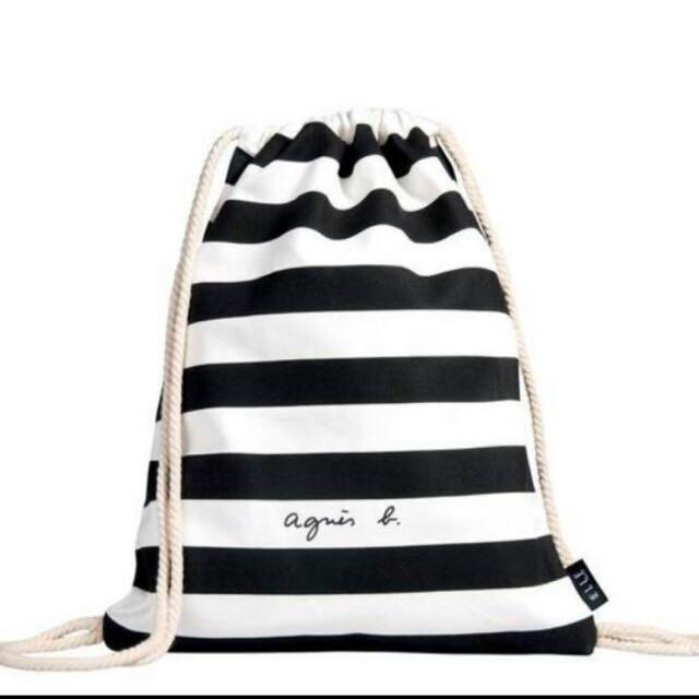Agnes b. 條紋帆布包