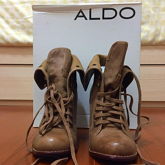 [ALDO] 全新 高跟皮革綁帶高筒靴/靴筒可折 褐色 咖啡色 38號