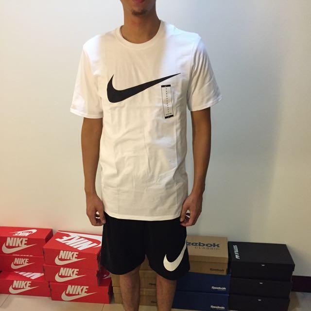 Nike Swoosh Logo 大勾勾 大logo 短T 黑白