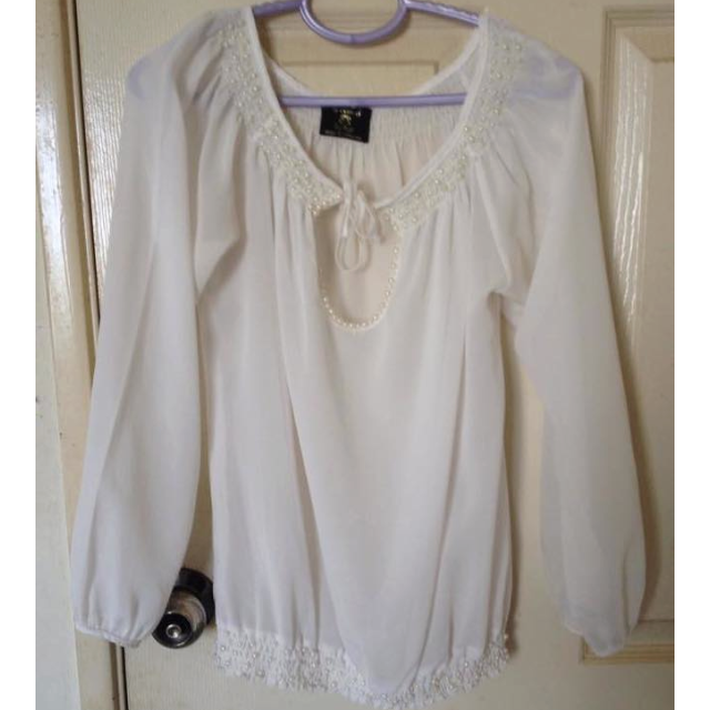 White chiffon top with beading