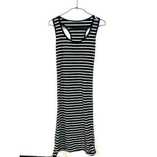 黑色條紋長裙