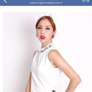 Majoemade白色2way蝴蝶結髮帶