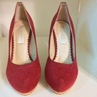 air space 麂皮紅色高跟鞋 9.9成新 34號