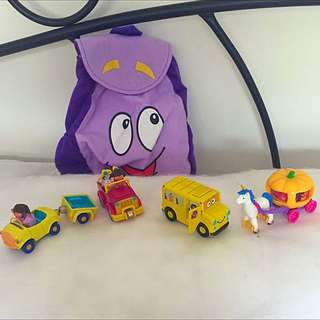 4 Dora Die cast Vehicles And Dora Backpack