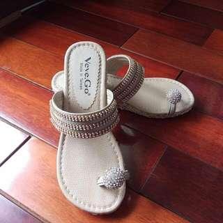 水鑽楔形鞋