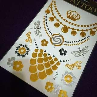 (全新)歐美款燙金刺青紋身貼紙 Zara Gu Uniqlo Forever21