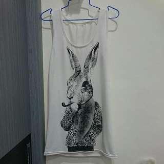 長版白色 兔兔背心