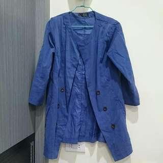 藍色七分袖薄外套