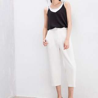 (二手)MOONCAT 八分直版西裝褲白色M號