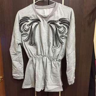 全新韓版 刺繡 長袖 上衣 洋裝