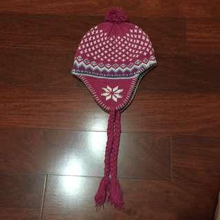 全新 粉色 圖騰 毛帽