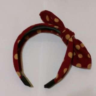 復古紅圓點蝴蝶結髮束 戴過一次